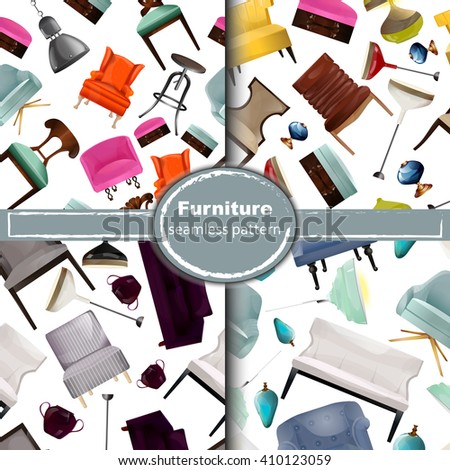 vector seamless pattern with interior objects.Elements of interior.Chairs, armchair, lamp,sofa.Background to the interior.Interior of a living room. Modern flat design illustration.furniture big set. - stock vector