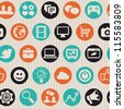 Vector seamless pattern with internet marketing icons - abstract background - stock photo