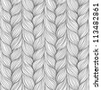 Vector seamless pattern with interweaving of braids. Abstract ornamental background in form of a knitted fabric. Black and white illustration of stylized textured yarn or hairstyle close-up - stock photo