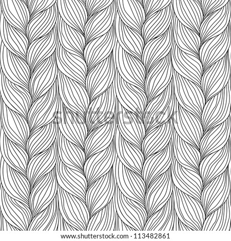 Vector seamless pattern with interweaving of braids. Abstract ornamental background in form of a knitted fabric. Black and white illustration of stylized textured yarn or hairstyle close-up - stock vector