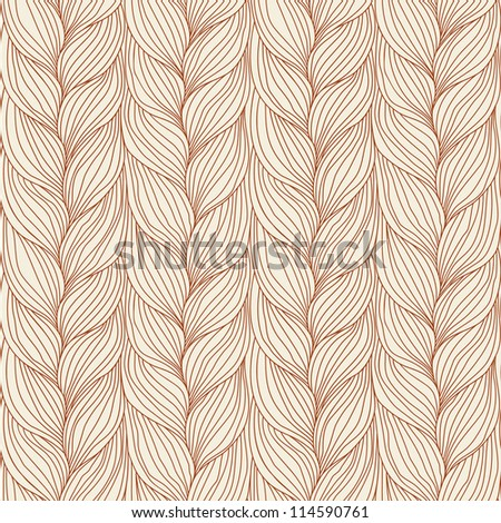 Vector seamless pattern with interweaving of braids. Abstract ornamental background in form of a knitted fabric. Light brown illustration of stylized textured yarn or hairstyle with plaits close-up - stock vector
