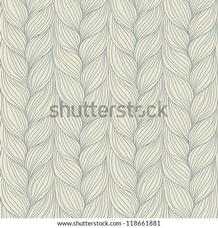 Vector seamless pattern with interweaving of braids. Abstract ornamental background in form of a knitted fabric. Decorative illustration of stylized textured yarn or hairstyle with plaits close-up - stock vector