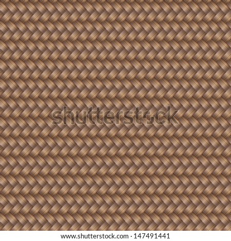 Vector seamless pattern with interweaving of brunette braids. Abstract ornamental background in form of a knitted fabric.Illustration of stylized textured yarn or hairstyle with plaits close-up. EPS10 - stock vector