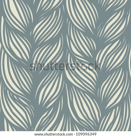 Vector seamless pattern with interweaving of gray braids. Ornamental background in the form of hairstyle in plaits. Abstract illustration with stylized texture of a knitted fabric - stock vector