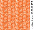 Vector seamless pattern with interweaving of orange braids. Abstract background  in the form of hairstyle in plaits. Ornamental illustration with stylized texture of yarn or knitted fabric close-up - stock vector