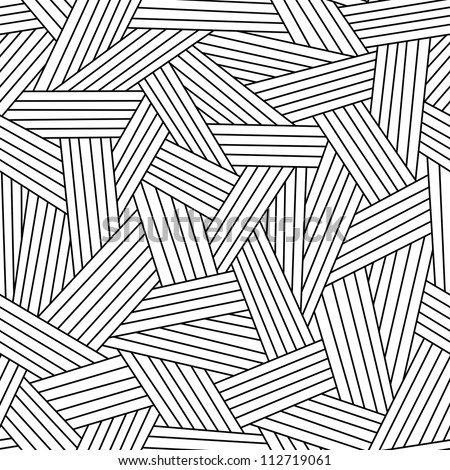 Vector seamless pattern with interweaving of thin lines. Simple abstract ornamental black and white illustration with stylized grass, covering. Traditional hatching architectural hand drawn graphic. - stock vector