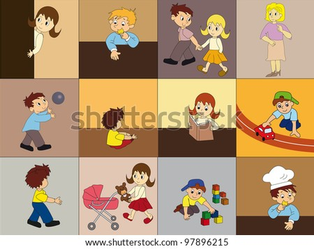 Vector seamless pattern with kid's