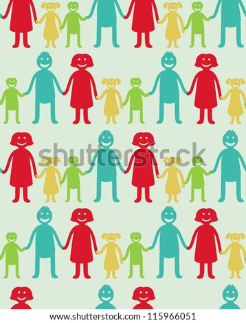 Vector seamless pattern with kids and parents - abstract background - stock vector