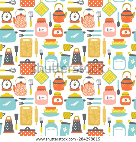 Vector seamless pattern with kitchenware: pans, jars with jam and milk, grater, dishes, cup, teapot, kettle, whisk, rolling pin, spoon, fork, knife, cutting board, spatula. Bright hand drawing texture - stock vector