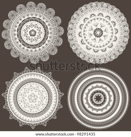 vector seamless pattern with lacy napkins, can be used separately - stock vector
