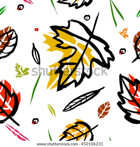 Vector seamless pattern with leaf, berries, blades of grass, autumn elements and templates on a white background. autumn hipster background. Bright pattern. Autumn template. - stock vector