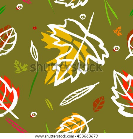 Vector seamless pattern with leaf, berries, blades of grass, autumn elements and templates on a green background. autumn hipster background. Bright pattern. Autumn template. - stock vector