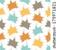 Vector seamless pattern with leaf. Bright autumn background. Colorful vintage template. Fall leaf theme .Vector illustration. - stock vector