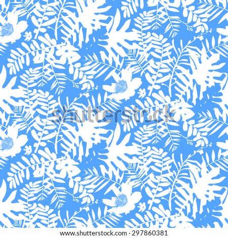 Vector seamless pattern with leafs and flowers inspired by tropical nature and plants like palm trees and ferns in bright blue color for fall winter fashion. Floral print, texture and background - stock vector
