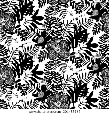Vector seamless pattern with leafs and orchid flowers inspired by tropical nature and plants like palm tree and ferns in black and white for fall winter fashion. floral print, texture and background - stock vector