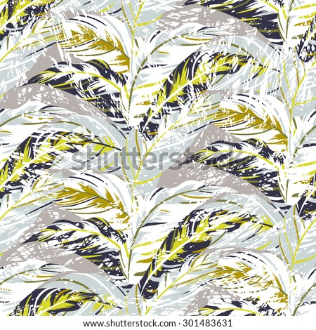Vector seamless pattern with leafs inspired by autumn nature and plants like palm trees and ferns in cool organic colors for fall winter fashion. Colorful floral texture and background - stock vector