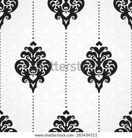 Vector seamless pattern with line art ornament. Vintage element for design in Victorian style. Ornamental lace tracery. Ornate floral decor for wallpaper. Endless texture. Contrast pattern fill. - stock vector