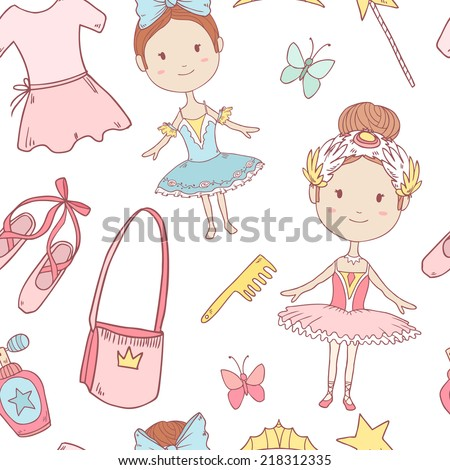 Vector seamless pattern with little cute ballerinas - stock vector
