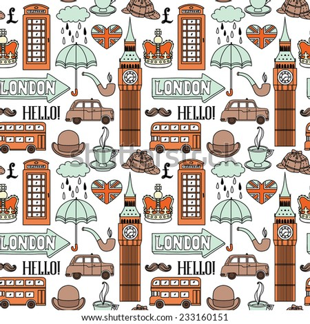 Vector seamless pattern with London symbols and landmarks. - stock vector