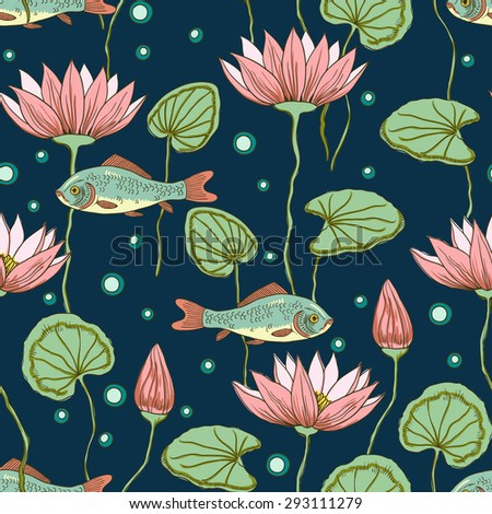 Vector seamless pattern with lotus flowers and leafs.   - stock vector