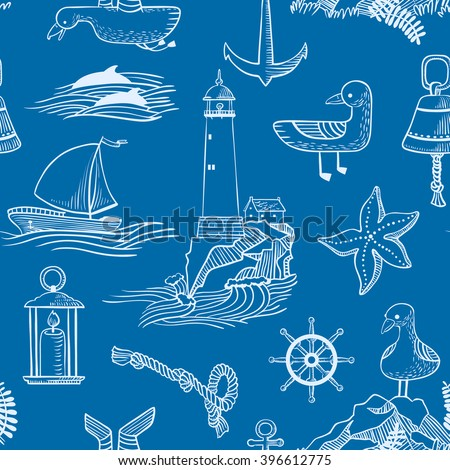 Vector seamless pattern with marine issues in doodle style - stock vector