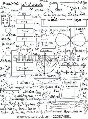 """Vector seamless pattern with mathematical formulas and programming code, """"handwritten on the linear paper sheet"""" - stock vector"""