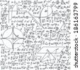"""Vector seamless pattern with mathematical formulas, equations and figures, """"handwritten on the copybook paper"""" - stock vector"""