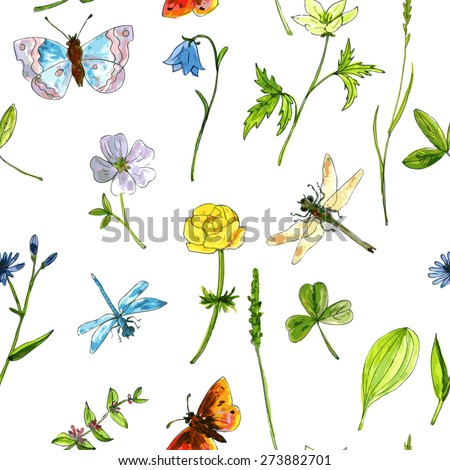 vector seamless pattern with meadow plants, flowers, grass, insects, drawing by watercolor, hand drawn vector illustration - stock vector