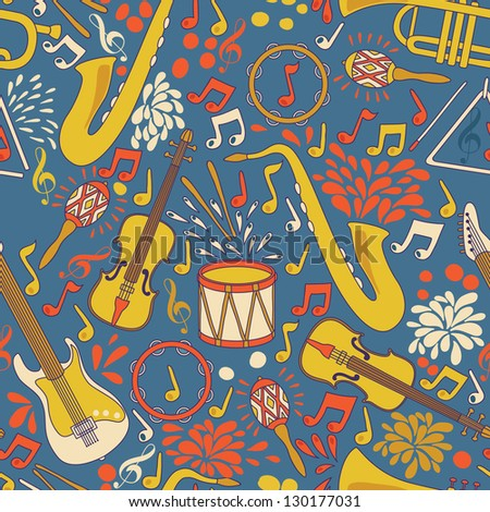 Vector seamless pattern with musical instruments. Vector illustration. Abstract Music Background - stock vector