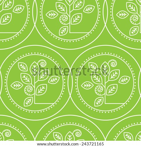 Vector seamless pattern with natural leafs - stock vector