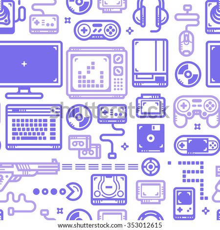 Vector seamless pattern with oldschool gaming objects. Blue lines on white. - stock vector