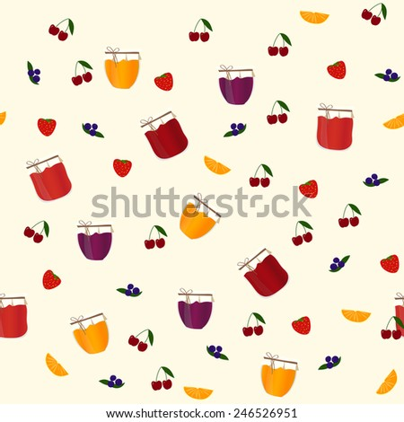 Vector seamless pattern with orange, blueberry, strawberry and cherry jams, with text for your design.
