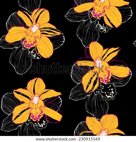 vector seamless pattern with orchids on black background - stock vector