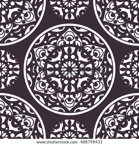 Vector seamless pattern with ornamental mandala