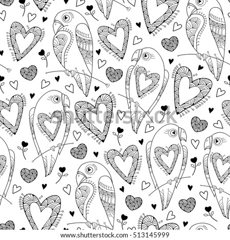 Vector seamless pattern with ornate parrot and heart on the white. Design elements and holiday symbols in contour style for Valentine day and coloring book. Romantic background with cute parrots.