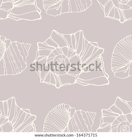 Vector seamless pattern with outline decorative seashells. Neutral background - stock vector