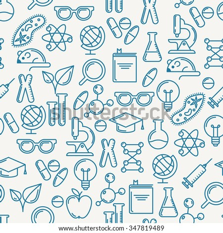 Vector seamless pattern with outline symbols of science, education and research. Abstract blue and white background. Concept for medical, innovation, chemical industry themes. Linear flat icons set.  - stock vector