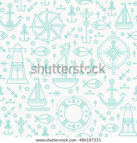 Vector seamless pattern with outlined seafaring and nautical signs. Blue and white color palette. Minimalistic design for business