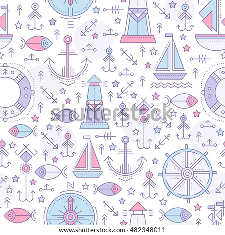 Vector seamless pattern with outlined seafaring and nautical signs. Pastel tints of blue, purple, pink on a white background. Minimalistic design for business