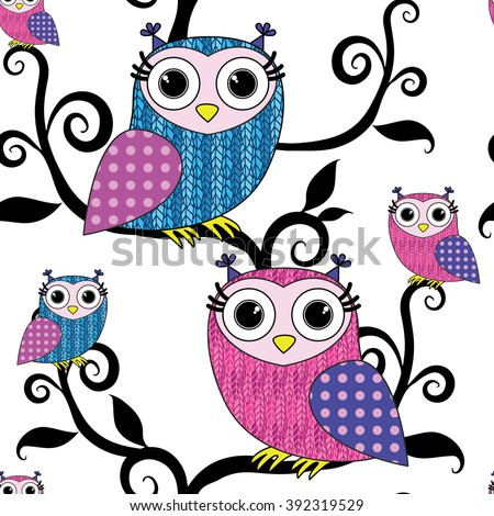 Vector seamless pattern with owls 1 - stock vector
