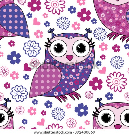Vector seamless pattern with owls 23 - stock vector