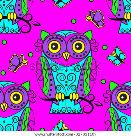 Vector seamless pattern with owls and butterfly 2 - stock vector