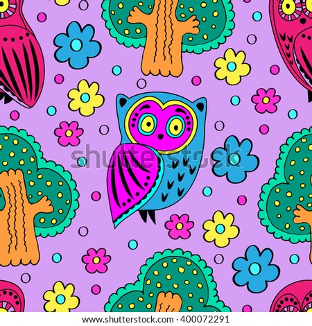 Vector seamless pattern with owls and trees. Violet. - stock vector