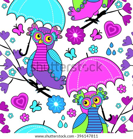 Vector seamless pattern with owls and umbrella. Owls on a tree. - stock vector