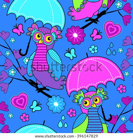 Vector seamless pattern with owls and umbrella. Owls on a tree. Blue.