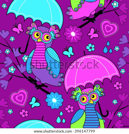 Vector seamless pattern with owls and umbrella. Owls on a tree. Vinous. - stock vector