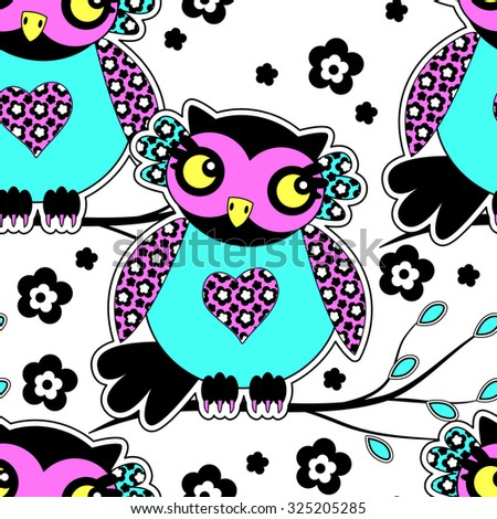 Vector seamless pattern with owls 6. Green, yellow, blue, violet, orange, pink. - stock vector