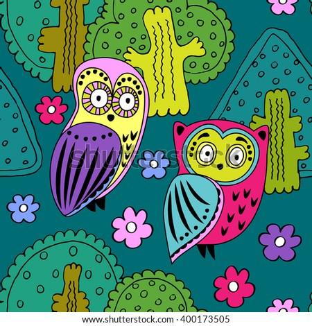 Vector seamless pattern with owls in the forest. Dark green, pink, violet, yellow. - stock vector