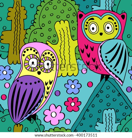 Vector seamless pattern with owls in the forest. Green, pink, violet, yellow. - stock vector