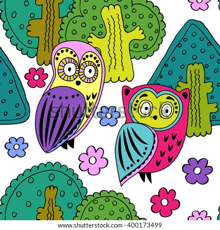 Vector seamless pattern with owls in the forest. White, green, pink, violet, yellow. - stock vector